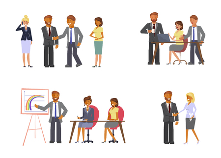 Set of business meetings concept. Employees and partners at conference briefing seminars. Vector illustration eps 10 Illusztráció
