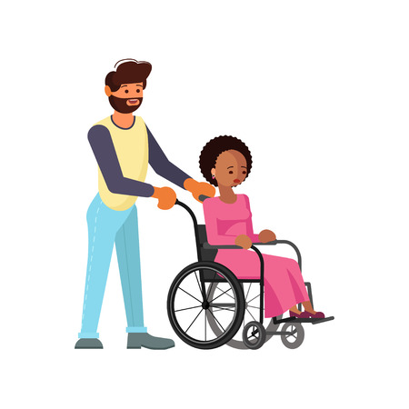 Man help to young disabled african woman in wheelchair isolated on white background in flat design. Vector illustration eps 10