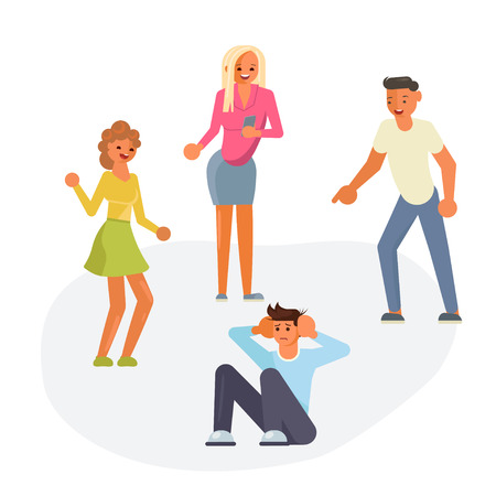 Group students or school people conflict concept in flat design. Teens are mocking for Sad teenage boy sitting on floor isolated on white background. Vector illustration eps 10