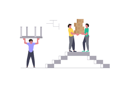 Concept for Transport company isolated on white background. Movers carrying cardboard boxes. Moving House and office. Vector illustration eps 10