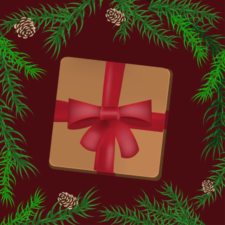 Christmas holidays composition with gift and fir Christmas tree branches on red background. Vector illustration eps 10