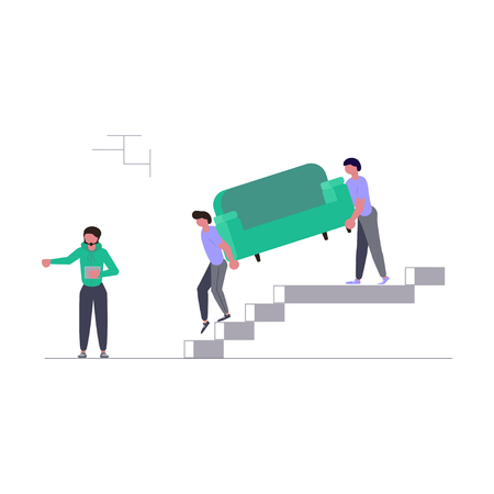 Concept for moving company isolated on white background. Movers carring a sofa and cardboard boxes. Moving House and office. Vector illustration eps 10