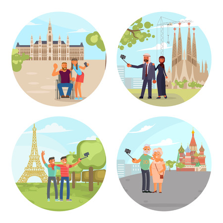 European City sights in Vienna, Paris, Rome, Barcelona, Moscow. Vector illustration eps 10