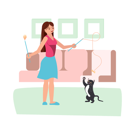 Young woman play with her black cat in flat style. Adorable cartoon character isolated on white background. Vector illustration eps 10