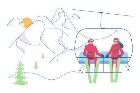 Mountain Ski Resort concept. Skiers man and woman in lift on winter Mountain Landscape background. Vector illustration eps 10