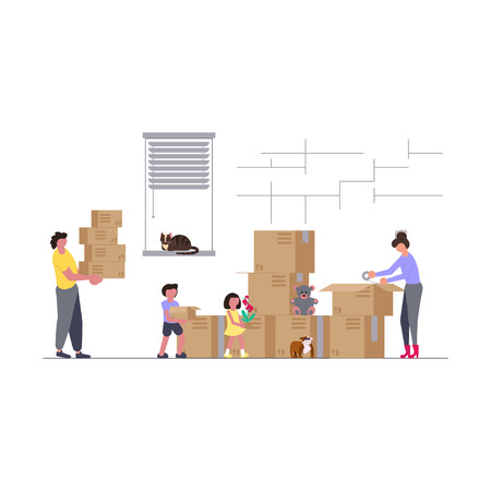 Concept of family with kids moving into a new house with things in flat style. Vector illustration eps 10 Vektoros illusztráció