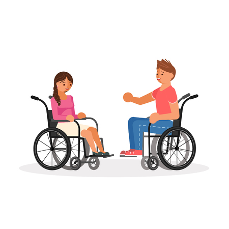 Pair of wheelchair disabled people, young man and woman talks. Vector illustration eps 10