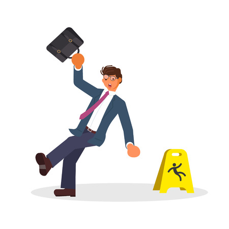 Concept of the man slipped and Wet Floor Sign isolated on white background. Vector illustration eps 10