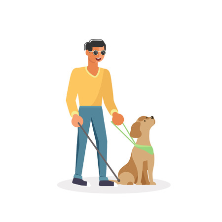 Blind person with guide dog and walking stick . Isolated on white background. Vector illustration eps 10