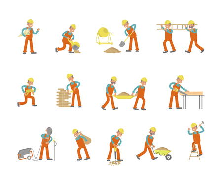 Full length of builder set. Construction Worker character in various poses. Vector illustration eps 10 Vectores