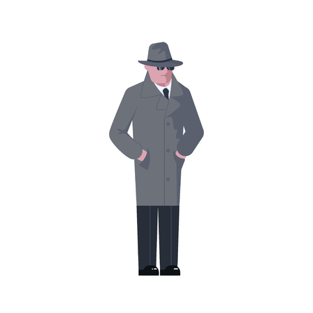 Mysterious man wearing a gray hat and coat with a raised collar isolated on white background. Vector illustration