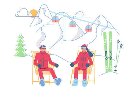 Mountain Ski Resort concept. Male and female Skiers on a lounger relaxes on a winter Mountain Landscape background. Vector illustration eps 10