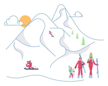 Mountain Ski Resort concept. Skiers family on winter Mountain Landscape background. Vector illustration eps 10  イラスト・ベクター素材