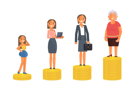 Concept of Retirement Money Plan and savings growth. Old and young woman stand on stacks of gold coins isolated on white background. Vector illustration eps 10 Иллюстрация