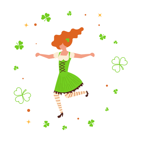 St Patricks Day banner. Cute cartoon girl leprechaun dancing amongst shamrock. Vector illustration eps 10
