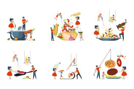 Une famille heureuse cuisine ensemble pour cuisiner une classe de maître à plat. Papa, maman, fille, fils aime la cuisine. Illustration vectorielle eps 10