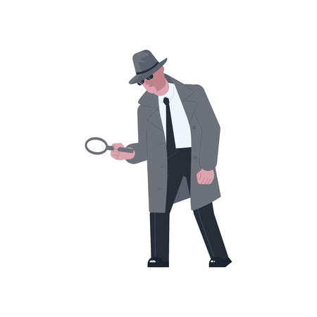 Mysterious man wearing a gray hat and coat with a raised collar finding out the truth. Low angle view character holding a magnifying glass isolated on white background. Vector illustration eps Foto de archivo - 126772286