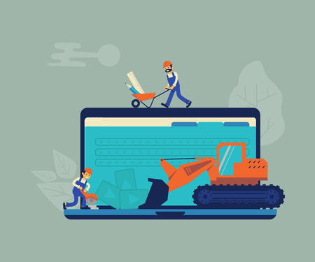 Website under construction and development concept background. 404 error or maintenance page with house building site, builders, crane and construction equipment. Vector illustration Vetores