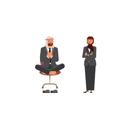 Arabic business man and business woman characters. Isolated on white background. Vector illustration