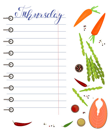 Daily food diary with healthy food and hand drawn days of the week lettering. Vector illustration