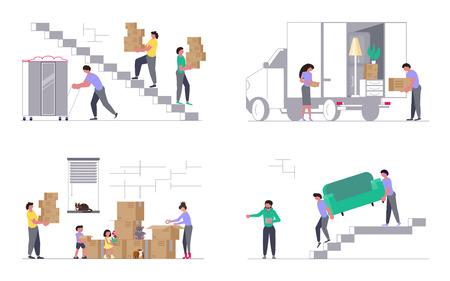 Insieme di concetti per azienda di trasporti isolato su sfondo bianco. Camion in movimento con traslochi che trasportano un divano e scatole di cartone. Trasloco e ufficio. Illustrazione vettoriale