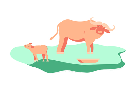 Wild animal concept. Indian bull with baby. Vector illustration