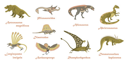 Set of cartoon Dinosaurs. Animal character isolated on white backround