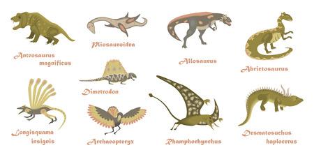 Set of cartoon Dinosaurs. Animal character isolated on white backround
