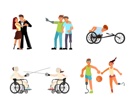 Set of Men and women sportsmens with incapability. Sport for Disabled people with disabilities and prosthesis. Vettoriali