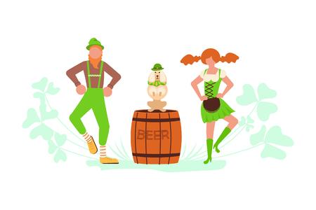 St Patricks Day banner. Cute cartoon leprechauns with mugs of beer dancing amongst shamrock. Vector illustration eps