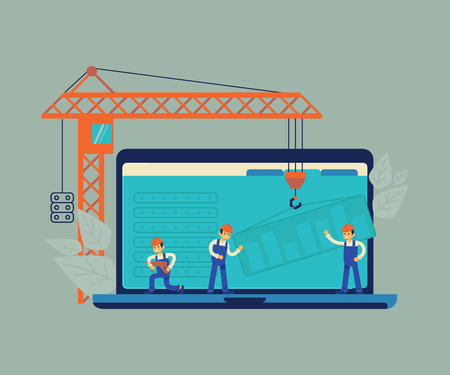 Website under construction and development concept background. 404 error or maintenance page with house building site, builders, crane and construction equipment. Vector illustration