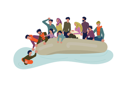 Migrant people in boat concept. Refugees get into Europe by sea isolated on white background. Vector Illustration Vettoriali