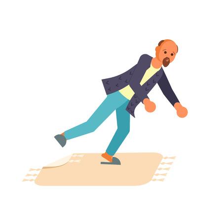Concept van de man struikelde over de rand van het tapijt en valt geïsoleerd op een witte achtergrond. Vector illustratie eps 10