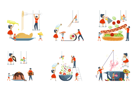 Set of oversize dish and tiny people characters family on cooking master class concept. Vector illustration