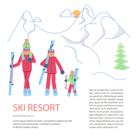Banner template for Mountain Ski Resort. Skiers family on winter Mountain Landscape background. Vector illustration eps 10
