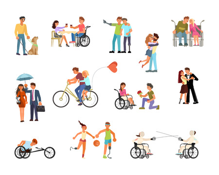 Ensemble de personnes handicapées en fauteuil roulant, aveugles avec bâton et chien-guide isolés sur fond blanc au design plat. Illustration vectorielle eps 10 Vecteurs