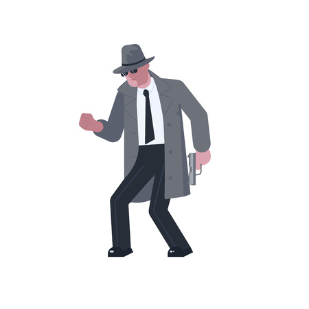 Mysterious man wearing a gray hat and coat with a raised collar sneaks with a pistol isolated on white background. Vector illustration eps Illustration