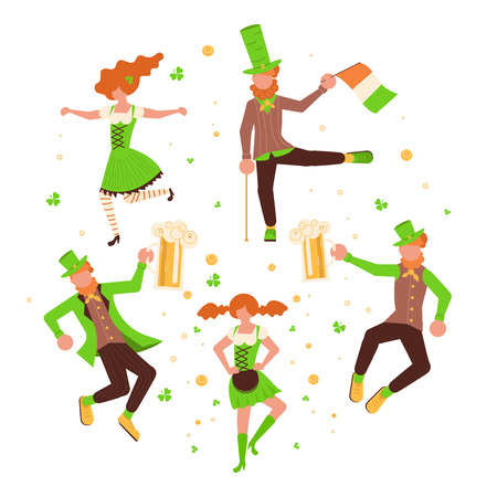 St Patricks Day banner. Cute cartoon leprechauns with mugs of beer dancing. Vector illustration eps