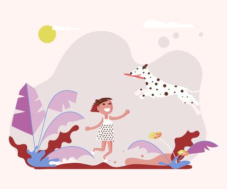 Der Besitzer des kleinen Mädchens spielt mit seinem kleinen Hund auf einem Spaziergang. Vektorillustration eps Vektorgrafik