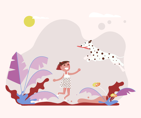 Little girl pet owner plays with her small dog on a walk. Vector illustration eps Ilustrace