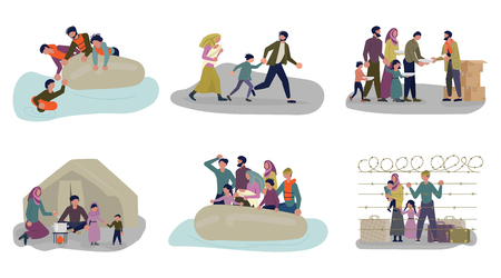 Set of concepts of Migrant people in different situations. Refugees get into Europe isolated on white background. Vector Illustration
