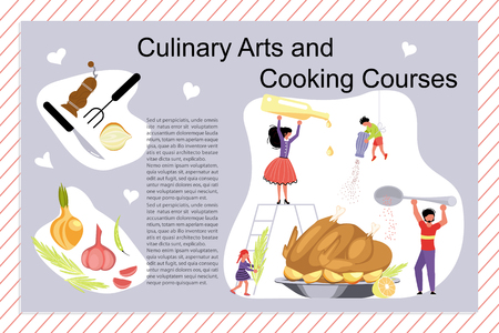 Culinary art and cooking courses Poster, banner template in flat. Happy family cooking together a cake concept. Dad, mom, daughter, son enjoys of cookery. Vector illustration eps Illustration