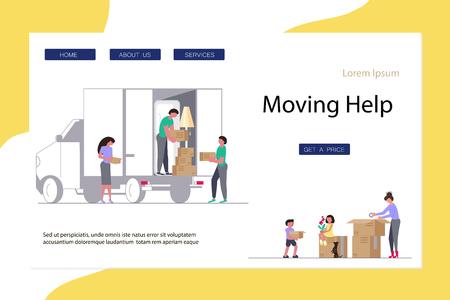 Déménagement de la maison et du bureau Concept pour site Web ou page Web. Illustration vectorielle de plat dessin animé plat