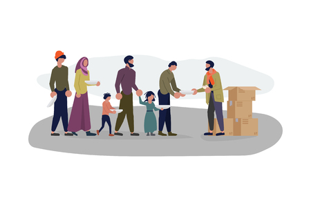 Migrant people in queue for humanitarian aid. Refugees get into Europe isolated on white background. Flat Art Vector illustration