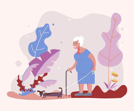 Old woman pet owner plays with her dog on a walk in forest. Flat Art Vector illustration Ilustração