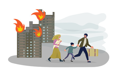 Refugees people run away from the bombing of the city. Migrant get into Europe isolated on white background. Flat Art Vector illustration