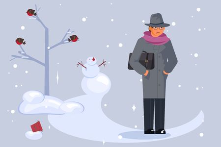 Winter cold and snowfall weather. Man walking through a snow covered park. Flat Art Vector illustration