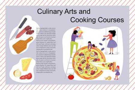 Affiche de cours d'art culinaire et de cuisine, modèle de bannière. Famille heureuse cuisinant ensemble un concept de pizza. Papa, maman, fille, fils aime la cuisine. Illustration vectorielle d'art plat