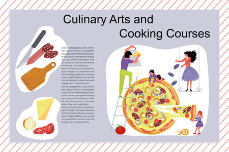 Culinary art and cooking courses Poster, banner template. Happy family cooking together a pizza concept. Dad, mom, daughter, son enjoys of cookery. Flat Art Vector illustration Illustration