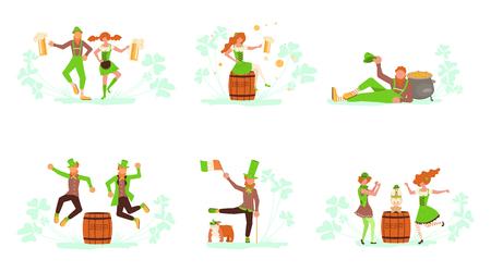 Set of Saint Patricks Day concept. Cute cartoon leprechauns holding mugs of beer dancing. Flat Art Vector illustration